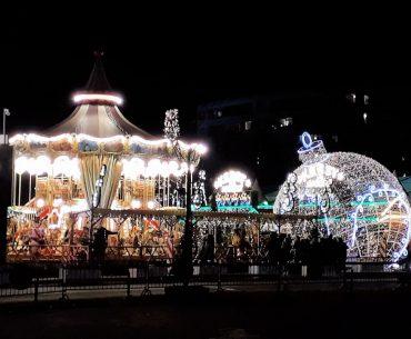 Winterland een magische pracht met veel kerstlichtjes.